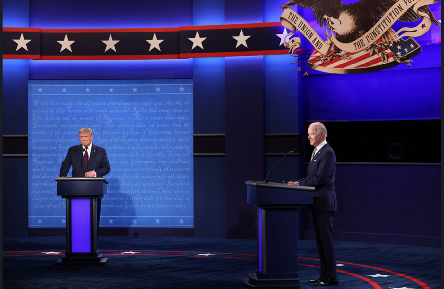 President Donald Trump and Democratic presidential nominee Joe Biden take the stage in the first presidential debate.