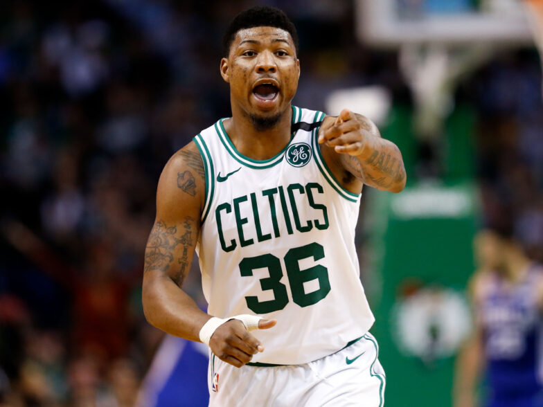 May 9, 2018; Boston, MA, USA; Boston Celtics guard Marcus Smart (36) reacts during the second half against the Philadelphia 76ers in game five of the second round of the 2018 NBA Playoffs at the TD Garden. Mandatory Credit: Greg M. Cooper-USA TODAY Sports
